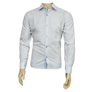 Camisa Slim Masculina Cinza Listrada