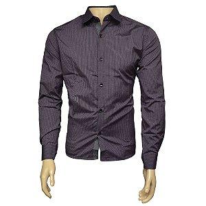 Camisa Slim Masculina Rosa Listrada