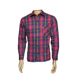 Camisa Flanela Masculina Xadrez Rosa
