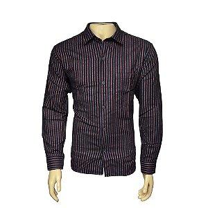 Camisa Flanela Masculina Listrada Preta