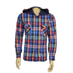 Camisa Flanela Masculina Com Capuz Xadrez Azul