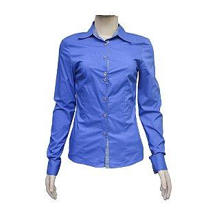 Camisa Social Feminina Azul Com Detalhe