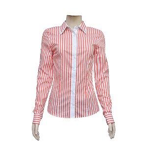 Camisa Social Feminina Salmão Listrada