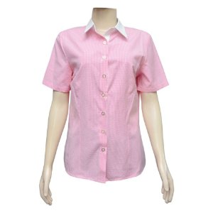 Camisa Social Feminina Rosa Xadrez Com Detalhe