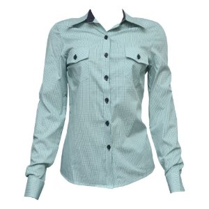 Camisa Social Feminina Verde Xadrez