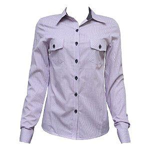 Camisa Social Feminina Lilás Xadrez