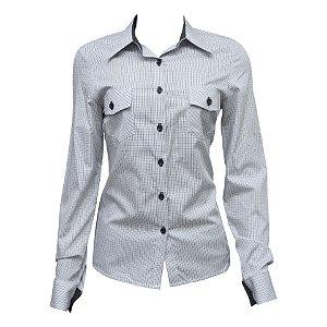 Camisa Social Feminina Cinza Xadrez