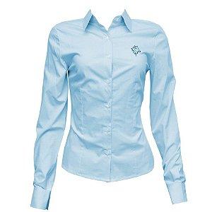 Camisa Social Feminina Verde Água Com Bordado Cavalo