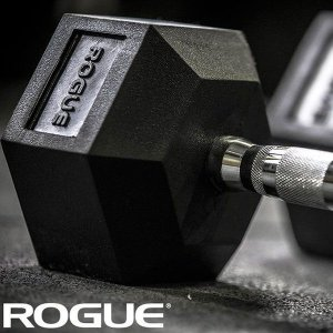 Dumbbell Rogue de Borracha Hexagonal 50lb (22,68kg) - Unidade