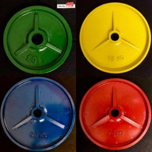 Kit 140kg Anilhas de Ferro Olímpicas Coloridas