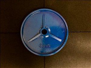 Anilhas de Ferro Olímpicas Colorida - 20kg - Azul - par
