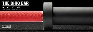 Barra Olímpica Masculina ROGUE 1.2 Ohio 28,5mm CERAKOTE - Eixo Vermelho - Mangas Preto