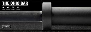 Barra Olímpica Masculina ROGUE 1.2 Ohio 28,5mm CERAKOTE - Eixo Preto - Mangas Preto