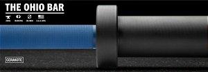 Barra Olímpica Masculina ROGUE 1.2 Ohio 28,5mm CERAKOTE - Eixo Azul - Mangas Preto