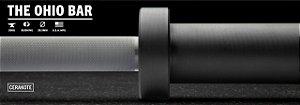 Barra Olímpica Masculina ROGUE 1.2 Ohio 28,5mm CERAKOTE - Eixo Cinza - Mangas Preto