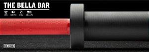 Barra Olímpica Feminina ROGUE BELLA 25mm CERAKOTE - Eixo Vermelho - Manga Preto