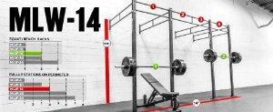 "Rogue Rack Monster Lite Parede 3""x 3"" 14' (4,27 metros) - Usado"