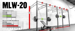"Rogue Rack Monster Lite Parede 3""x 3"" 20' (6,10 metros) - Usado"