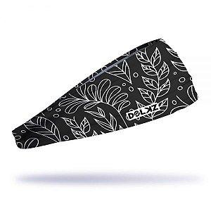 Headband Slim Dolkz - Folhas brancas - Cor Preto