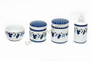 Kit Higiene bebê Porcelana| Varalzinho Azul  Marinho com Ursinhos|4 peças