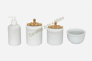Kit Higiene Bebê Porcelana | Branco com Puxador Dourado Provençal | 4 Peças