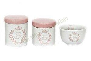 Kit Higiene Bebê Porcelana | Coroa Rosa com Ursinho| 3 peças