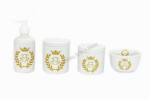 LIQUIDAÇÃO Kit Higiene Bebê Porcelana| Urso Coroa Dourada| 4 peças