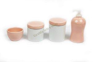 Kit Higiene Bebê Porcelana e Cerâmica| Rosa Antigo | 4 peças