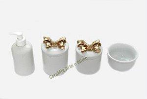 Kit Higiene Bebê Porcelana| Laços Dourados| 4 peças