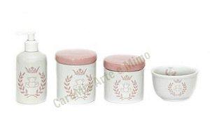 Kit Higiene Bebê Porcelana| Coroa Rosa com Ursinha|4 peças