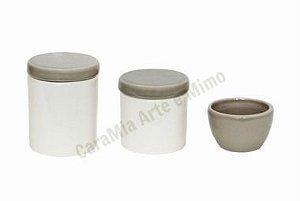 Kit Higiene Bebê Cerâmica | Branco e Cinza| 3 peças