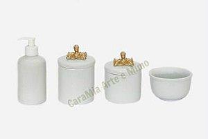 Kit Higiene Bebê Porcelana| Puxador Provençal Quadrado Dourado | 4 peças