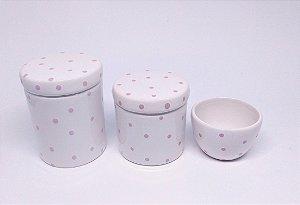 Kit Higiene Bebê Cerâmica |Branco Poá Rosa| 3 peças