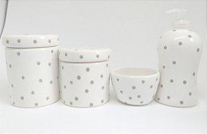 Kit Higiene Bebê Cerâmica| Poá cinza| 4 Peças |