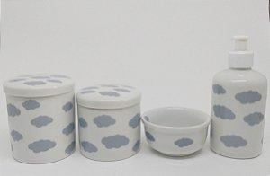 Kit Higiene Bebê Porcelana|Nuvem Cinza| 4 peças