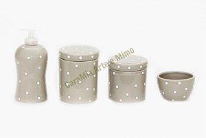 Kit Higiene Bebê Cerâmica | Cinza com Poá Branco| 4 peças