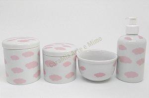 Kit Higiene Bebê Porcelana | Nuvem Rosa| 4 peças