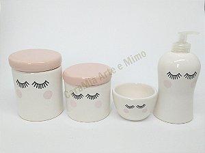 Kit Higiene bebê Cerâmica | Olhinhos Rosa Antigo| 4 peças