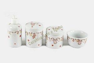 Kit Higiene Bebê Porcelana | Varalzinho Rosa com Poá| 4 peças