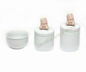Kit Higiene Bebê Porcelana | Ursinha Rosa Antigo | 3 peças
