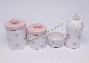 Kit Higiene Bebê Cerâmica | Floral Rosas | 4 peças