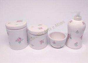 Kit Higiene Bebê Cerâmica | Floral | 4 peças