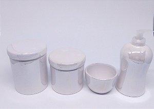 Kit Higiene Bebê Cerâmica  Branco Perolizado  4 peças