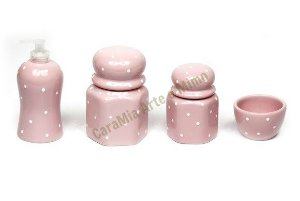 Kit Higiene Bebê Cerâmica |Rosa Bebê| Sextavado com poá| 4 peças
