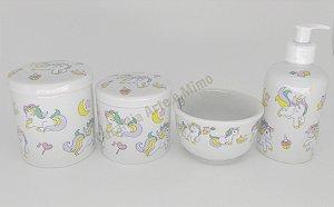 LIQUIDAÇÃO Kit Higiene Bebê Porcelana Unicórnio | 4 peças