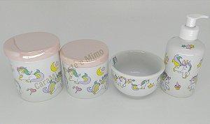 Kit Higiene Bebê Porcelana | Unicórnio Tampas Rosas Perolizadas| 4 peças
