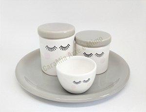 Kit Higiene Bebê Cerâmica Cinza e Branco| Olhinhos com Bandeja 30 cm para Kit e para Garrafa|