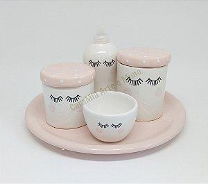 Kit Higiene Bebê Cerâmica Rosa Antigo | Olhinhos Cílios com Bandeja 30 cm para Kit e para Garrafa|
