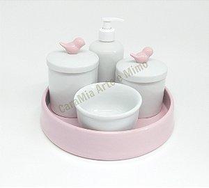 Kit Higiene Bebê Passarinho & Bandeja Rosa Bebê