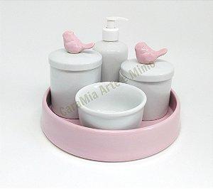 Kit Higiene Bebê Porcelana & Bandeja Cerâmica Rosa Bebê